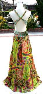 NWT Morrell Maxie $490 Lime /Multi Prom Formal Gown 10