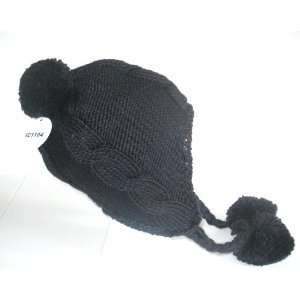 Womens Black Cable Knit Winter Ski Beanie Ear Flap Hat Pom Pom Fleece