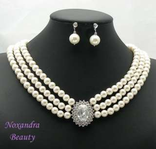Bridal Wedding Shell Pearl RS Necklace Earrings DZ2801
