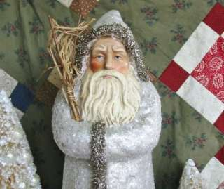 Vintage Style 16 inch Silvery Belsnickle Mica Flakes Paper Mache Santa
