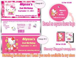 HELLO KITTY CANDY BAR WRAPPERS OR FAVOR TAGS