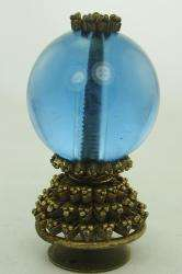 ANTIQUE CHINESE BLUE PEKING GLASS MANDARIN HAT BUTTON FINIAL 3RD RANK