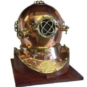 Full Size Replica US Navy Mark V Brass Diving Helmet Wood