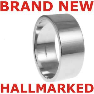 10mm Mens 11.2g 9ct Hallmarked 375 White Gold Flat Wedding Band Ring