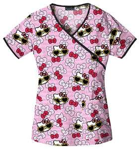 Cherokee Tooniforms Hello Kitty Womens Mock Wrap Print Top 6726C HKGL