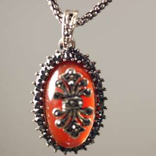 d4024 Womens Classic Red Oval Tibet Silver Gemstone Pendant Necklace
