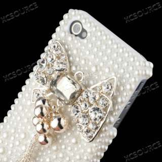 3D Pearl Bling Crystal Case Cover for iphone 4 4G 4GS PC94