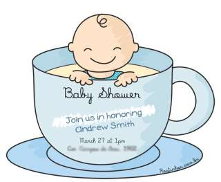 the cup Personalized baby shower invitation. Boy, girl, twins