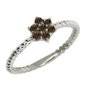 Round Brown Smoky Quartz 10k White Gold Ring Jewelry
