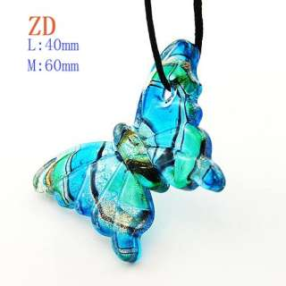 G4111 Ladys Butterfly Blue Lampwork Murano Glass Pendant Necklace NEW