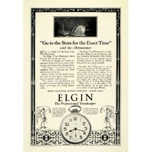 1924 Ad Antique Elgin Pocket Watch Astronomy Time