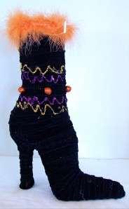Halloween Witch High Heel Shoe Boot Black Decoration NEW