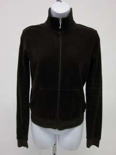 JUICY COUTURE Brown Velour Zip Up Collared Sweater Sz M