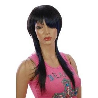 Black Long Wig  Twin Shade Unique Hairstyle Wig  Highlighted Blue