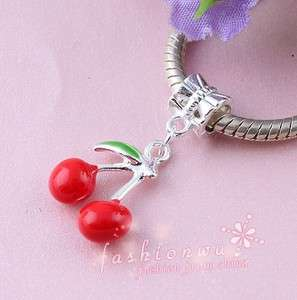 50X Silver Plated Enamel Fresh Cherry Charm Beads