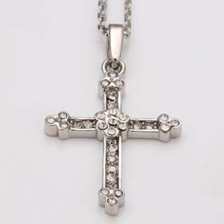 N55 18K white Gold plated white gem Swarovski crystal cross Necklace
