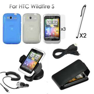 11in1 Leather Case Silicone Charger Car holder Stylus for HTC Wildfire