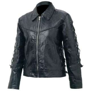 Ladies Womens Black Leather Jacket Embroidered Roses