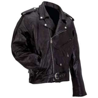 NEW Classic Mens Black Leather Motorcycle Biker Jacket
