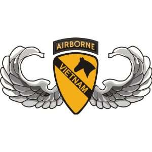 US Army 1st Cavalry Division Airborne Jump Wings Vietnam Patch Decal