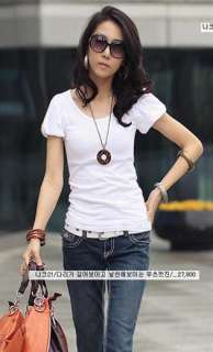 Causal Style Puff Sleeve T Shirt Rose Blouse Fashion Womens Cotton