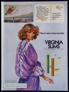 1976 Virginia Slims Cheryl Tiegs Magazine Print Ad