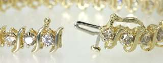 CHIC 5.50CT FANCY ROUND DIAMOND 14K YELLOW GOLD S TENNIS BRACELET