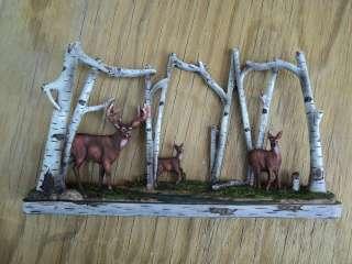 WHITETAIL DEER FAMILY IN BIRCH FOREST BUCK FIGURINE WILDLIFE AM10174