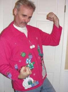 Ugly Christmas Sweater Contest Winner 2X XXL PINK Sequins Snowman Mens