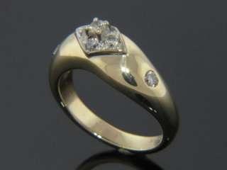 UNIQUE 14K YELLOW GOLD NATURAL DIAMOND LADIES WAVE RING