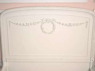 Shabby Cottage Chic White French Style Twin Bed Frame Rose Wreath