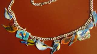 Bird Charm necklace blue birds,altered,whimsical,art