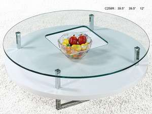 Round Glass Top White Base Modern Coffee Table