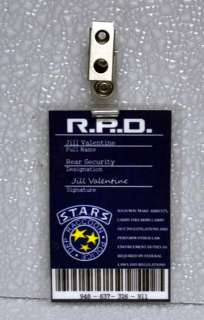 Resident Evil ID Badge STARS RPD Jill Valentine Rear Security