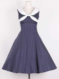 50s Vintage Size L WhiteDot/Navy Blue Sailor Dress Polka Dot