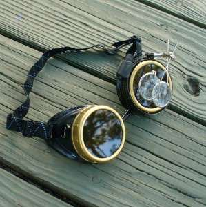 Steampunk Goggles Glasses cyber lens goth F black gold RAVE Biker