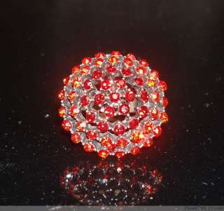 Lots 50Pcs Color Round Crystal Rhinestone Metal Rings