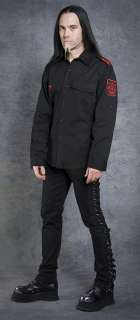 NEW Gothic Goth Punk Shrine Clothing Black Red GUERRILLA ARMY SHIRT L