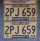 1968 Minnesota License Plate Pair #2PJ 659 Ford, Pont
