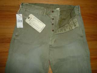RRL Vintage Army Green Cotton Officers Chino Pants 34 x 34