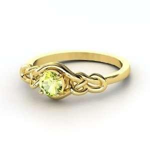 Sailors Knot Ring, Round Peridot 14K Yellow Gold Ring