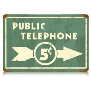 Public Telephone Old Time Sign 5 Cent Calls Home & Kitchen