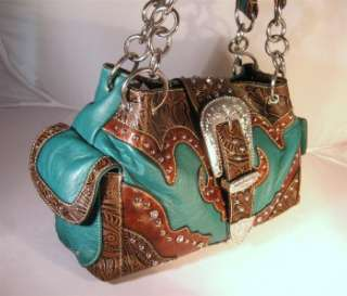 Blue Western Cowgirl Rhinestone Buckle Tooled Handbag Purse and Wallet