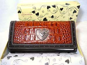 Embossed Genuine Leather Western Style Wallet Heart Concho, Gift Boxed