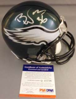 SWEET!! Brian Westbrook Signed PHILADELPHIA EAGLES Mini Helmet PSA/DNA