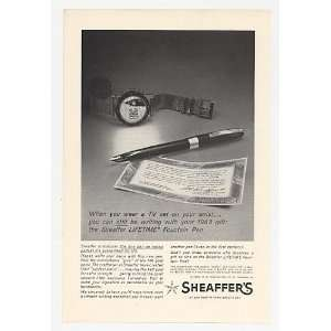 1963 Sheaffer Lifetime Fountain Pen TV Watch Print Ad: Home & Kitchen