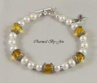 SUICIDE Awareness Czech Glass & Pearl Bracelet w/ Charm