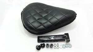 Black Bates style solo seat for custom chopper bobber for Harley