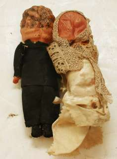 Vintage KEWPIE Celluloid Wedding Cake Topper Dolls Bride & Groom