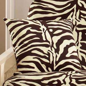 Surefit Beige And Brown Velvet Zebra Print Throw Pillow